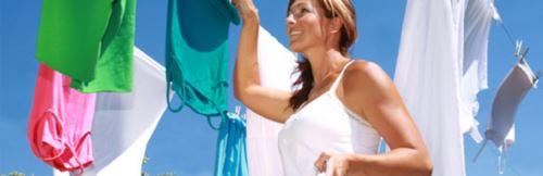 развешенное чистое белье