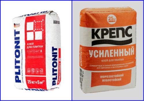 Клеевая смесь Крепс и Плитонит