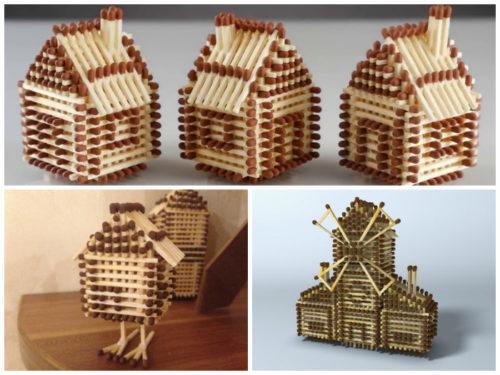 Варианты спичечных домиков