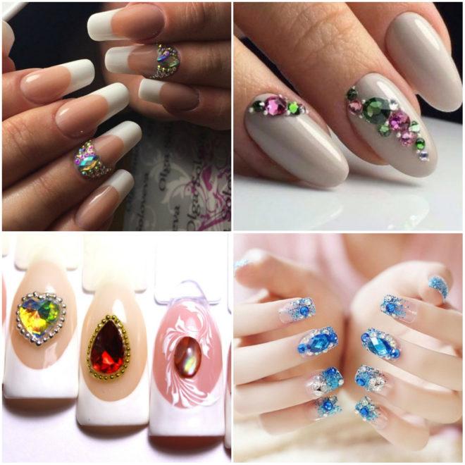Варианты дизайна ногтей с крупными камнями