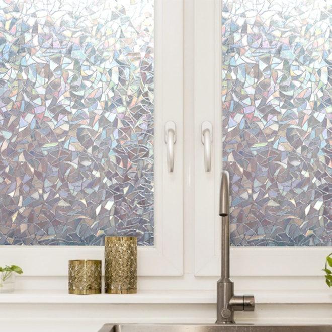 фольга на окна с мозаичным рисунком